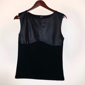 Poof Couture Black Faux Leather Ribbed Top Large